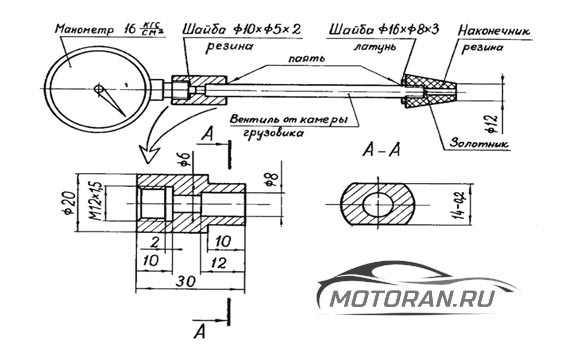 Схема компрессометра